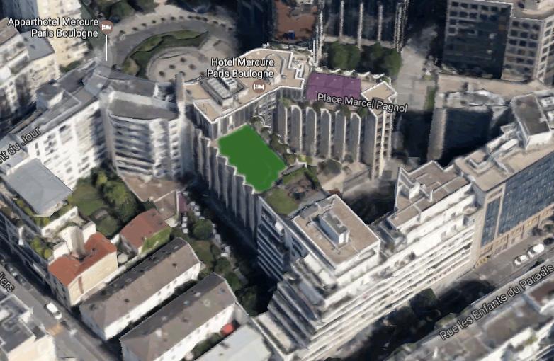Emplacement de la ferme urbaine du Mercure Boulogne